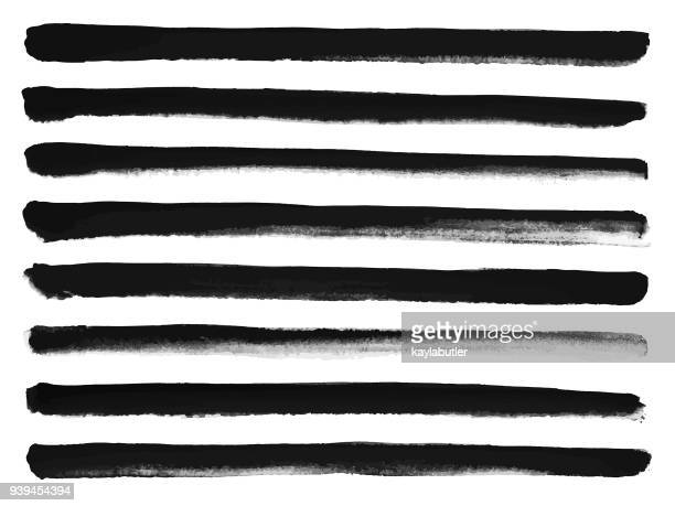ink brush stroke set - straight lines - single line stock illustrations