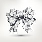 Ink drawn bow for gift design