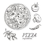 Ink hand drawn pizza ingredient set
