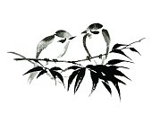 Ink illustration of two birds on bamboo. Sumi-e style.