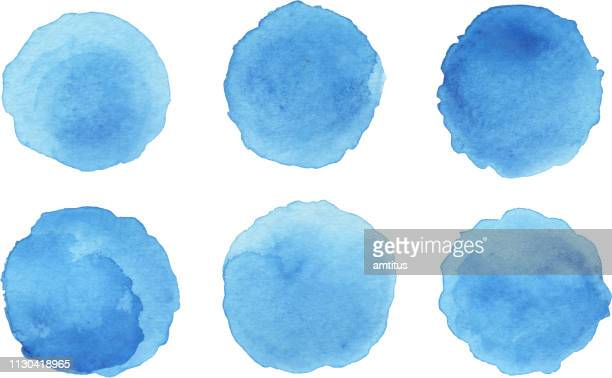 ink patches set - blue stock illustrations