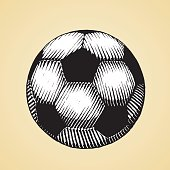 Ink Sketch of a Soccer Ball with White Fill