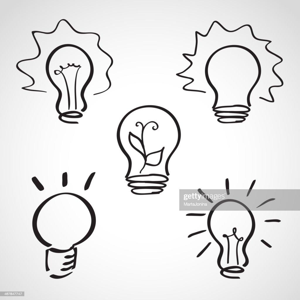 Ink style sketch set - lightbulb icons