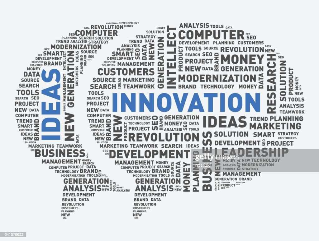 Innovation and ideas speech bubble, word cloud vector