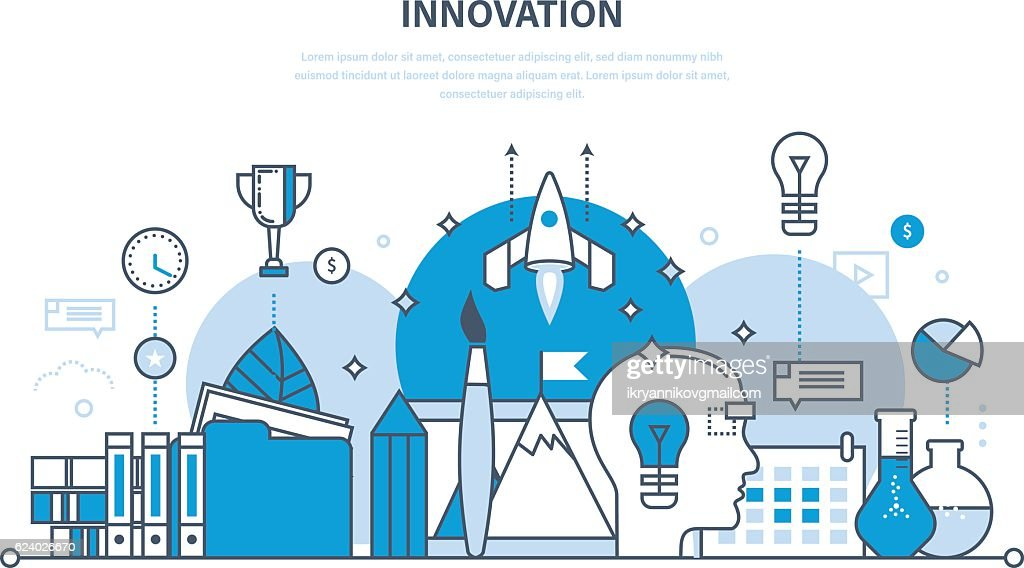 Innovation, creative thinking,  process, brainstorming, imagination and vision, research.