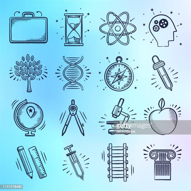 innovation & interactive learning doodle style vector icon set - touch sensitive stock illustrations
