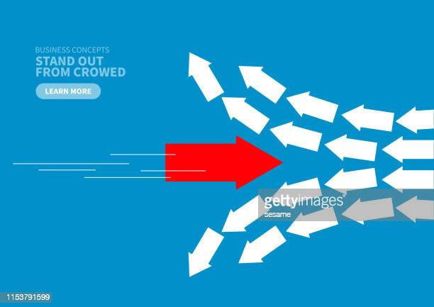 innovation, red arrow breaking the order - following moving activity stock illustrations