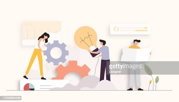 innovation related vector illustration. flat modern design - brainstorming stock illustrations