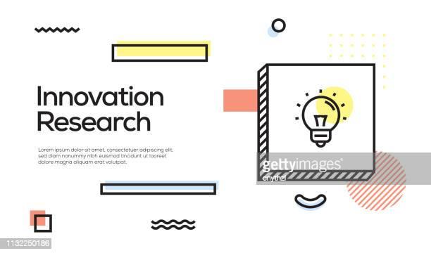 イノベーション研究コンセプト革新的な研究のアイコンと幾何学的なレトロスタイルのバナーとポスターコンセプト