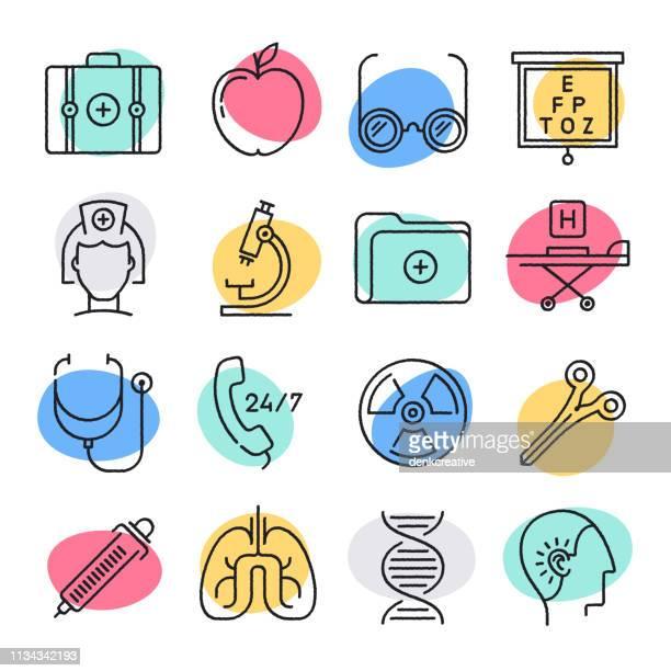 illustrazioni stock, clip art, cartoni animati e icone di tendenza di set di icone vettoriali in stile doodle sanitario - scoprire nuovi terreni