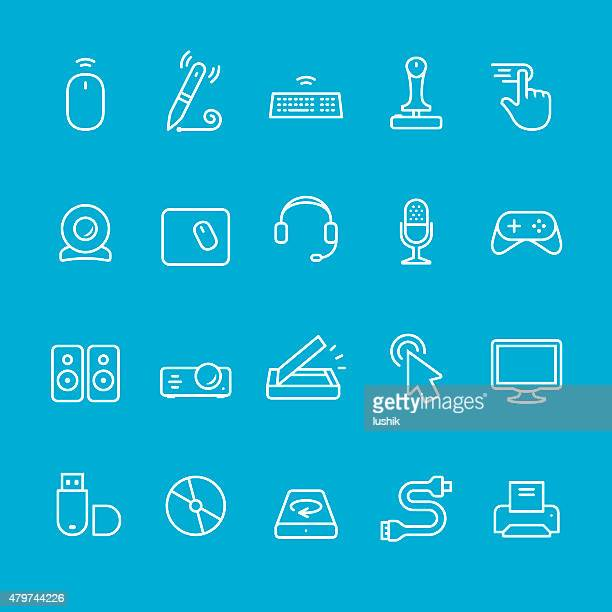 input device icons collection - computer speaker stock illustrations, clip art, cartoons, & icons