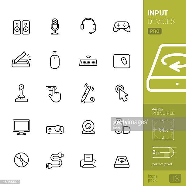 input devices related vector icons - pro pack - touchpad stock illustrations