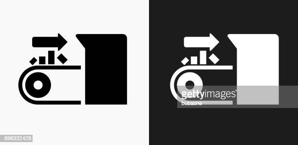 Input on Conveyor Belt Icon on Black and White Vector Backgrounds