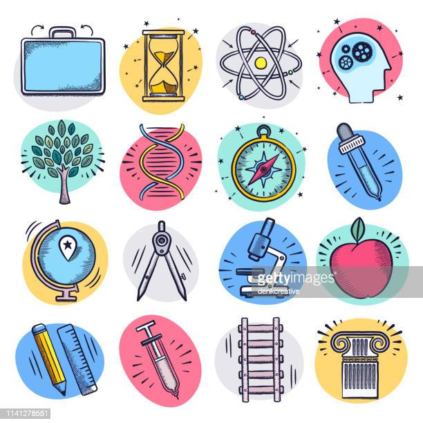 inquiry science education liquid doodle style vector icon set - stem topic stock illustrations