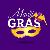 inscription Mardi Gras with picture of mask