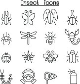 Insect & bug icon set in thin line style