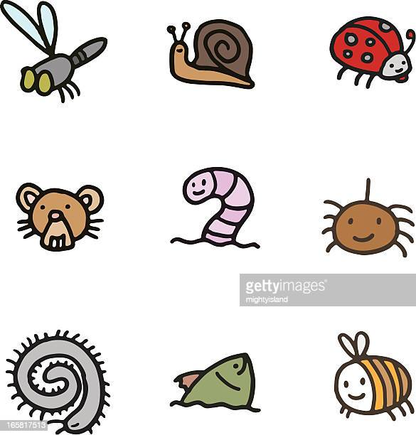insect doodle icon set