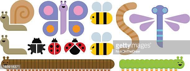 ilustrações de stock, clip art, desenhos animados e ícones de conjunto de insetos gráfico - centopeia