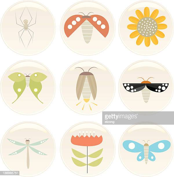 insect n flower badges