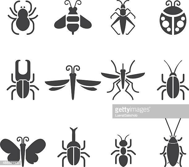 insect silhouette icons| eps10 - queen bee stock illustrations