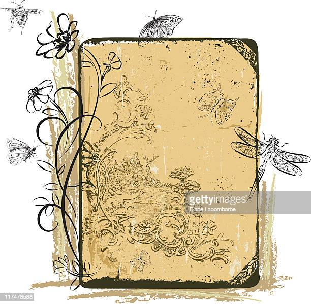 insects and flowers on grunge background elements - bumblebee stock illustrations, clip art, cartoons, & icons