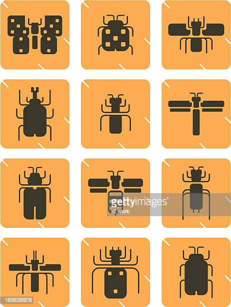 illustrations, cliparts, dessins animés et icônes de icônes insectes - cigale