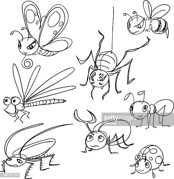 Insekten im Comic-Stil