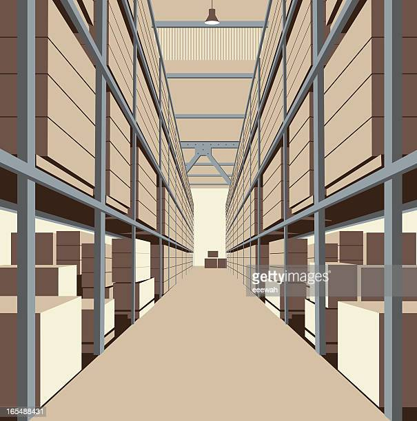 inside a warehouse - storage room stock illustrations, clip art, cartoons, & icons
