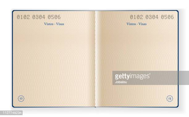 inside blank passport template - blank stock illustrations