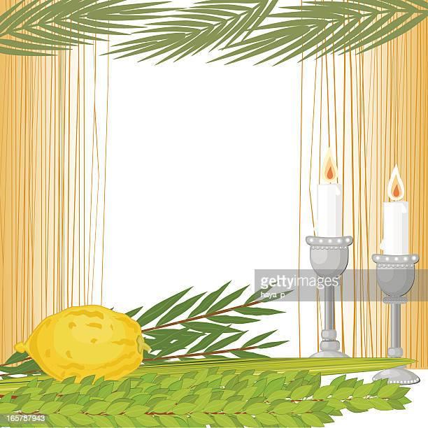 内側スカー、仮庵の植物、キャンドル - 仮庵の祭り点のイラスト素材/クリップアート素材/マンガ素材/アイコン素材