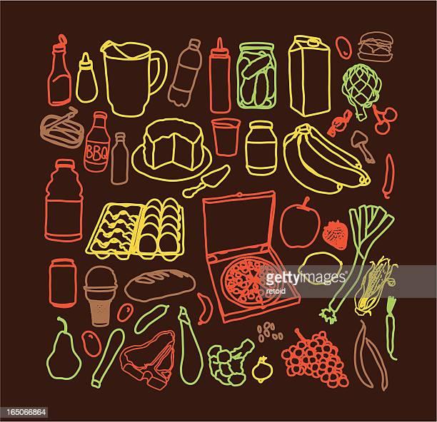 inside your fridge - cauliflower stock illustrations, clip art, cartoons, & icons