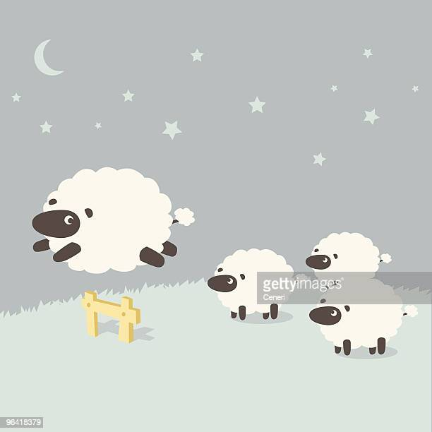 insomnia: sheeps leaping over the fence - sheep stock illustrations, clip art, cartoons, & icons