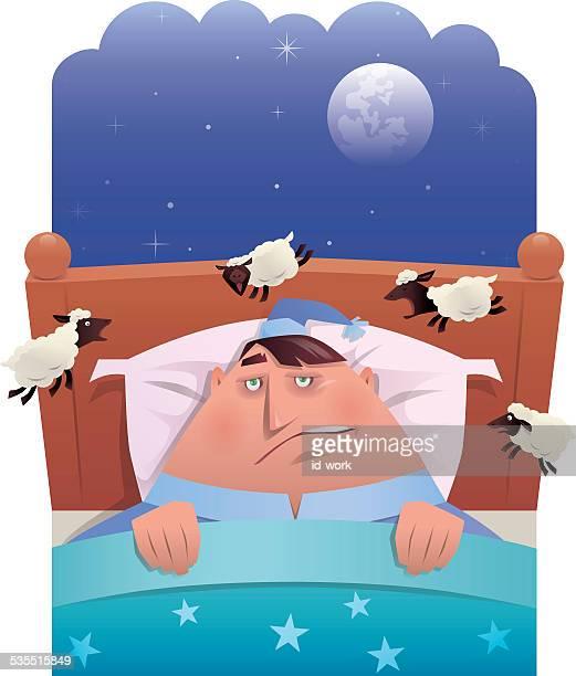 insomnia - sheep stock illustrations, clip art, cartoons, & icons