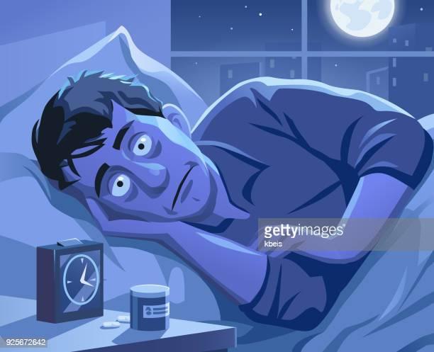 ilustrações de stock, clip art, desenhos animados e ícones de insomnia - acordar