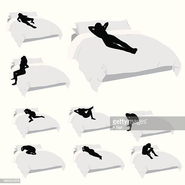 insomnia vector silhouette - bedroom stock illustrations, clip art, cartoons, & icons