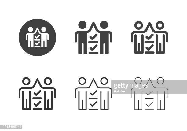 stockillustraties, clipart, cartoons en iconen met inspector team iconen - multi series - menselijke vorm
