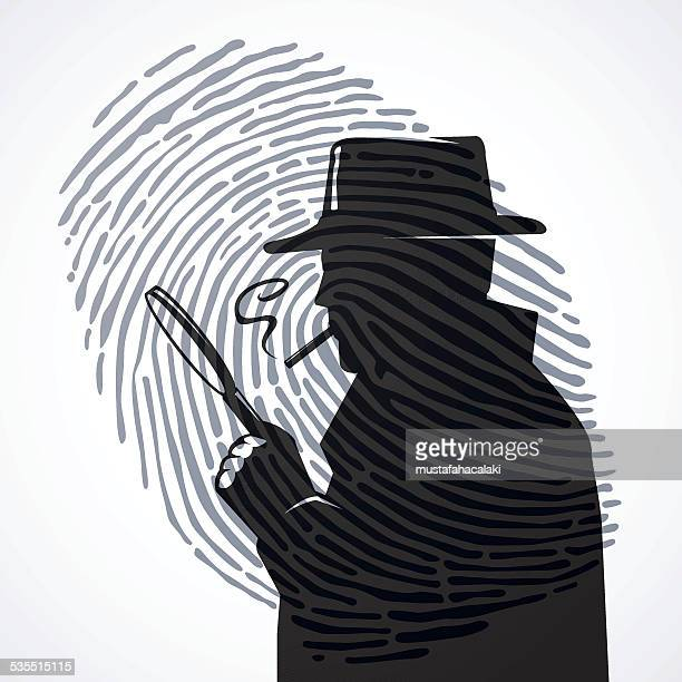 inspector with fingerprint - detective stock illustrations