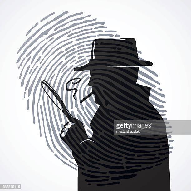 ilustraciones, imágenes clip art, dibujos animados e iconos de stock de inspector con huella dactilar - detective