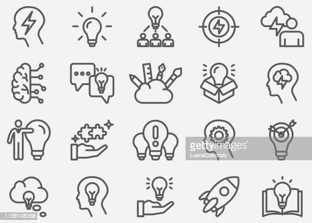 inspiration and idea line icons - contemplation stock illustrations