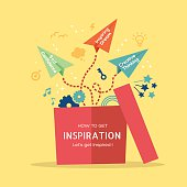 Inspiration concept Illustration with paper plane flying out of box