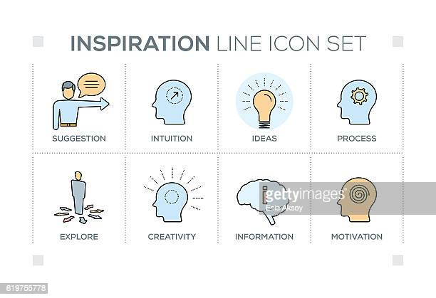 Inspiration keywords with line icons