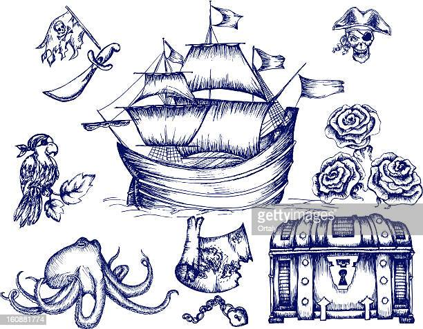 inspiration of pirates - pirate boat stock illustrations, clip art, cartoons, & icons