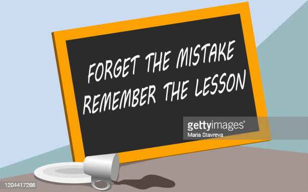 inspirational quotes - forget the mistake. remember the lesson. - religious blessing stock illustrations