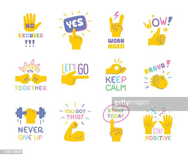 stockillustraties, clipart, cartoons en iconen met inspirerende citaten met handgebaren - sporting term