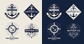 Inspirational themplate of Nautical Style Logo, Emblem Designs. Vintage sea label.