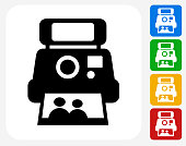 Instant Camera and Photo Icon Flat Graphic Design