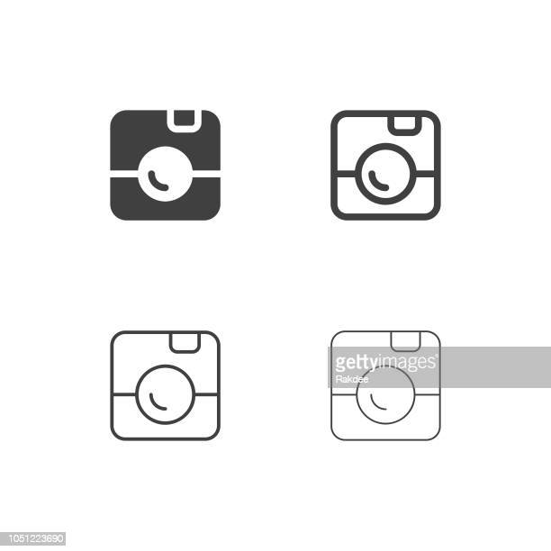 instant camera icons - multi series - polaroid stock illustrations, clip art, cartoons, & icons
