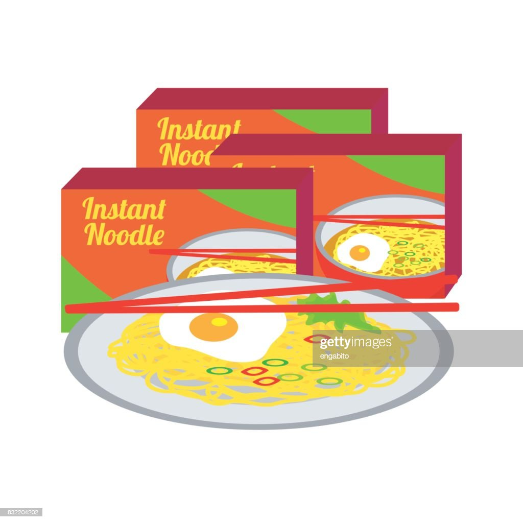 instant fried noodles and a boiled egg on a plate with chopstick and packaging. vector illustration