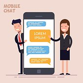 Instant messaging service. Messaging service. Sms messenger. Happy businessman or manager and woman is standing near a large phone or smartphone. Flat character isolated on color background.