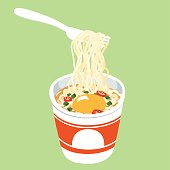 Instant noodle cup add egg vector